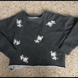 Women's grey floral crop sweatshirt